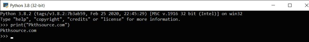 Python interactive mode example.